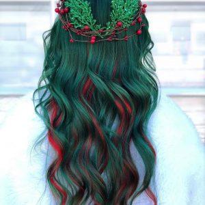 "Personality Heart Dyed ""Christmas Haircolor"" Suitable for Christmas out Hi haircolor"