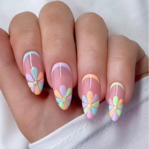 The Season's Brightest Spring Festival Almond Nail Design