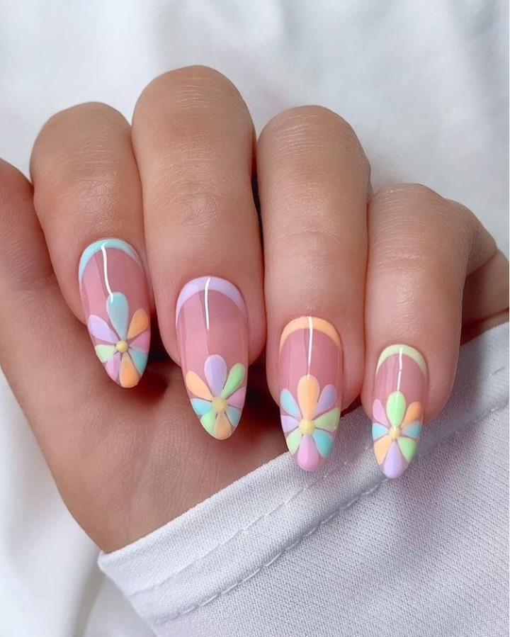 The Season's Brightest Spring Festival Almond Nail Design
