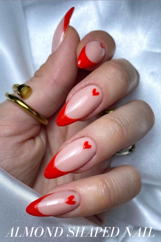 Love Heart Almond Shape Nails