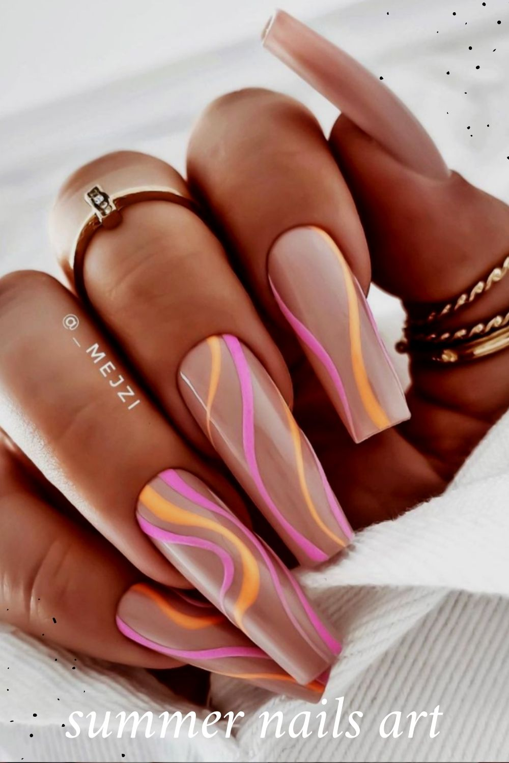 Pink coffin shaped nails for summer nails art