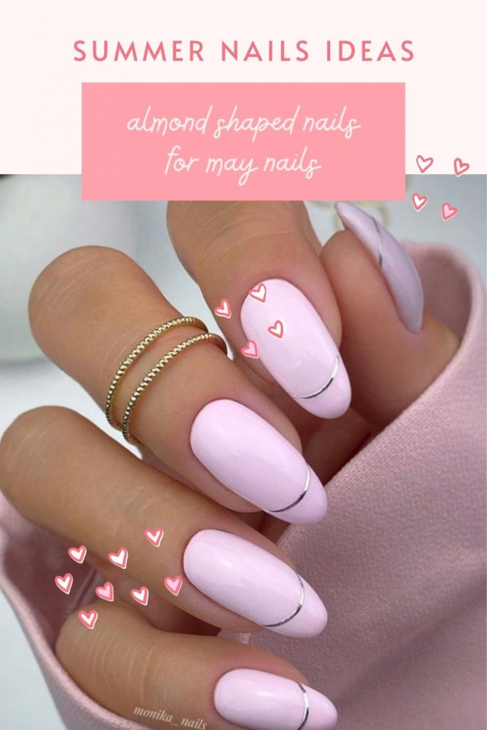 Purple and Gold Almond Shaped Nails