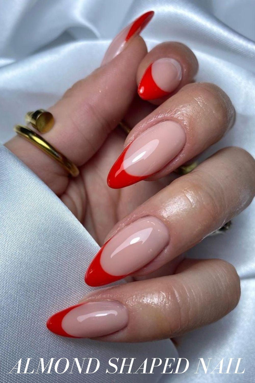 Red and pink almond nails designs