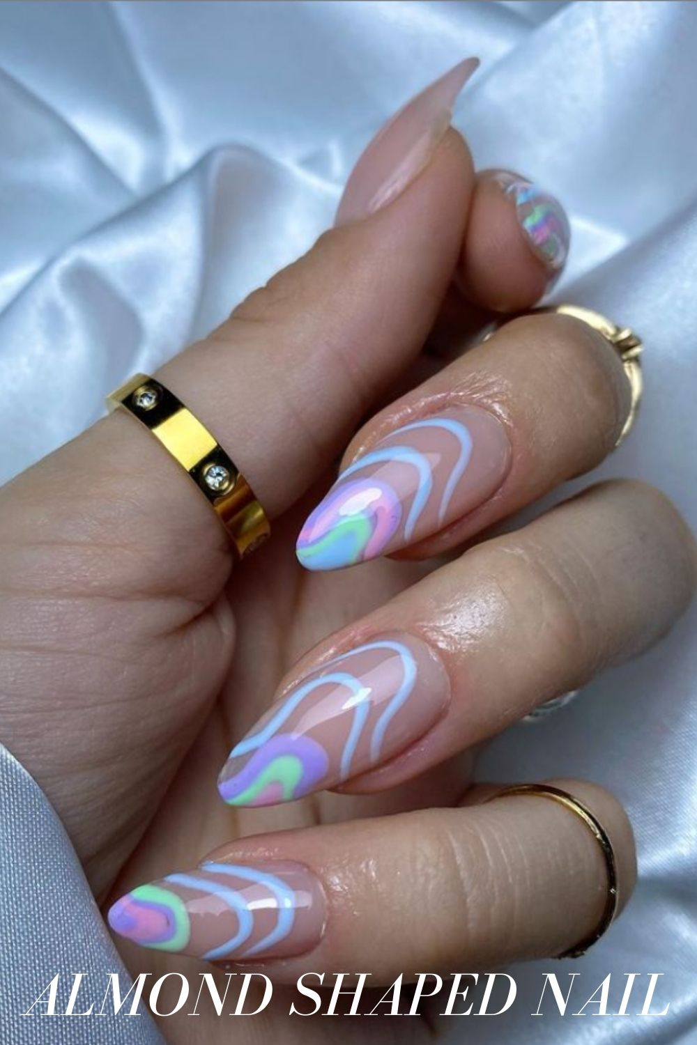 Light blue and pink almond nails ideas
