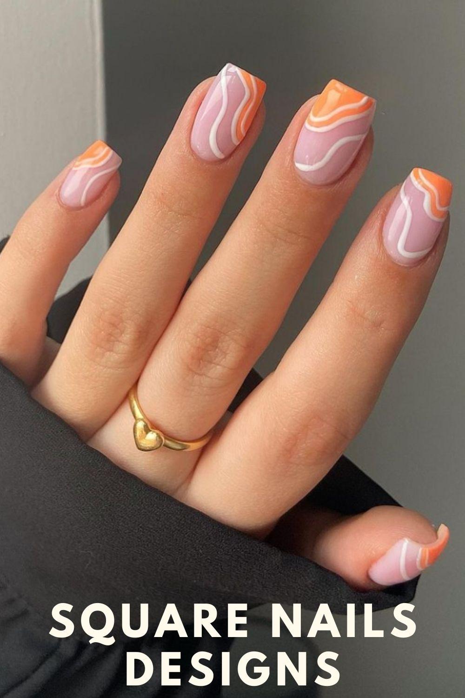 Orange and white square nails designs