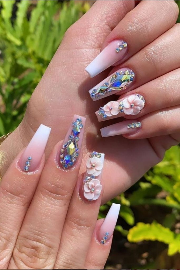 Beautiful Coffin Acrylic Nails with Flower for May Nails