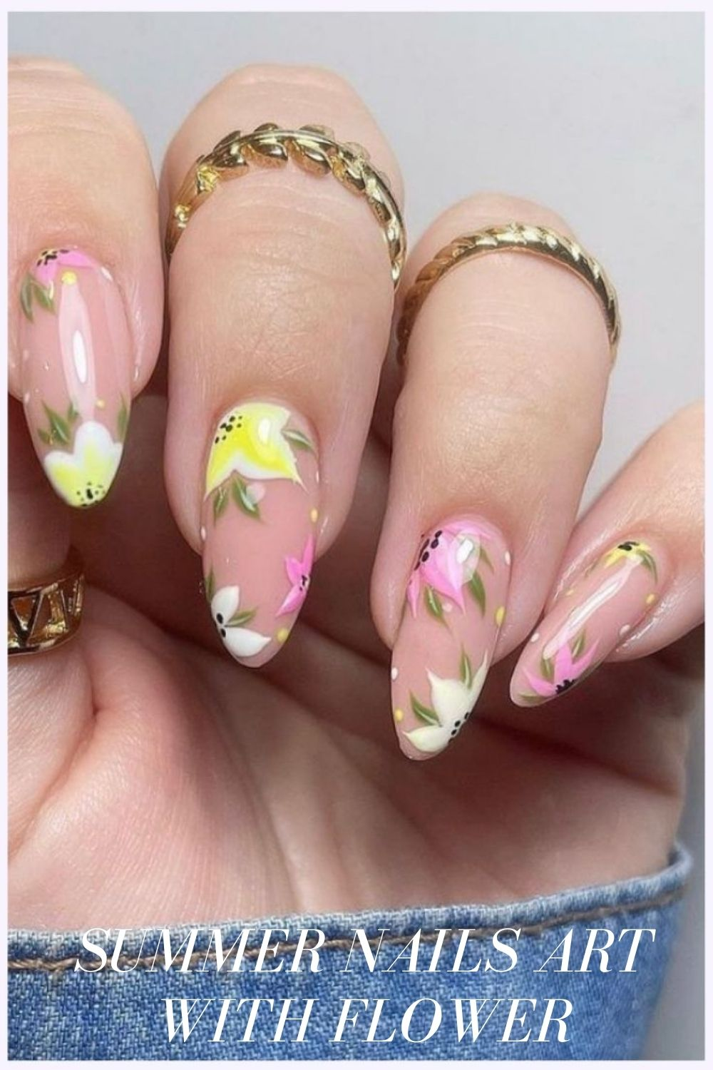 Yellow and green flower nails