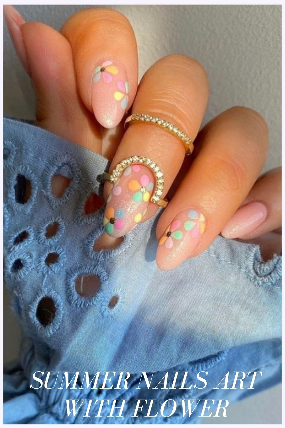 Short nail shapes with acrylic flower nails