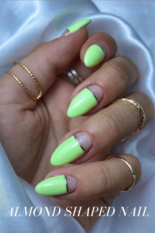 Neon almond nails