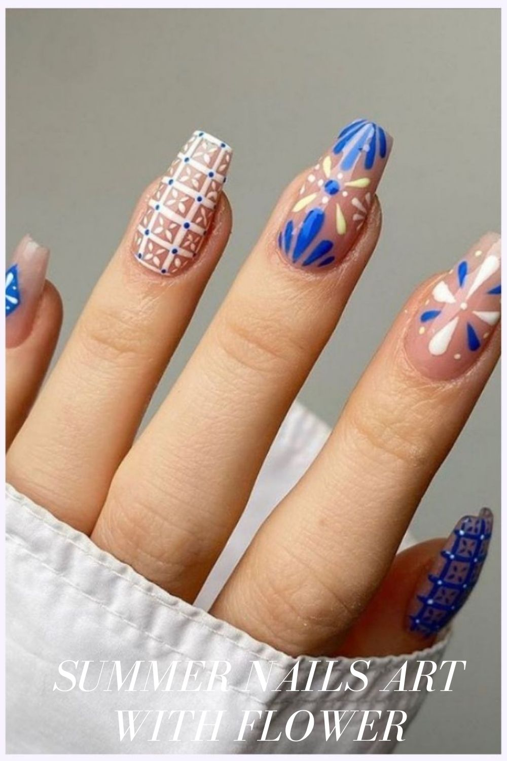White and blue coffin nails designs