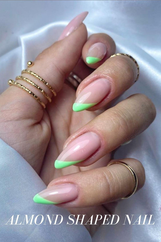 Neon tip almond nails designs