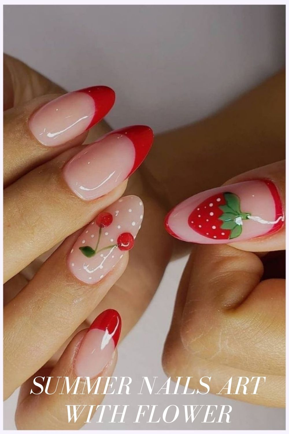 French red tip almond style nails art