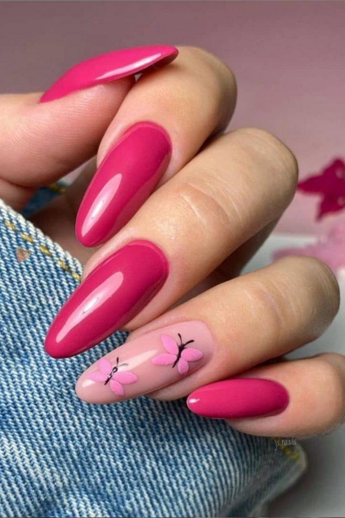 Almond shaped nails with butterfly