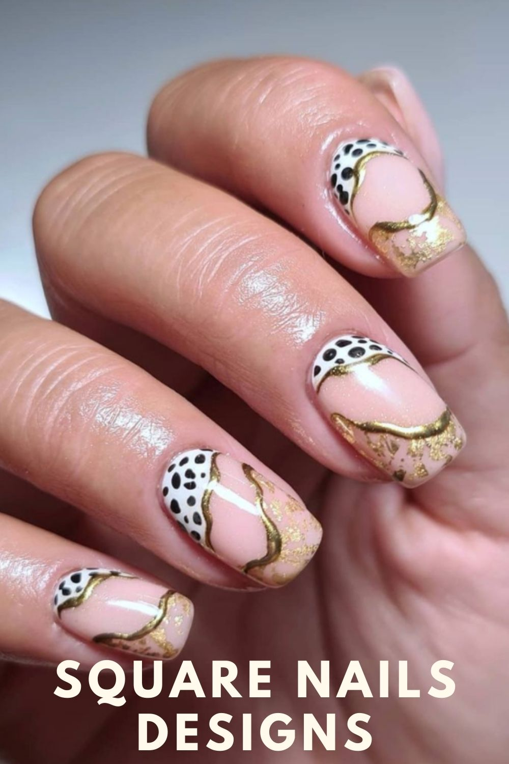 Gold and glitter square nails