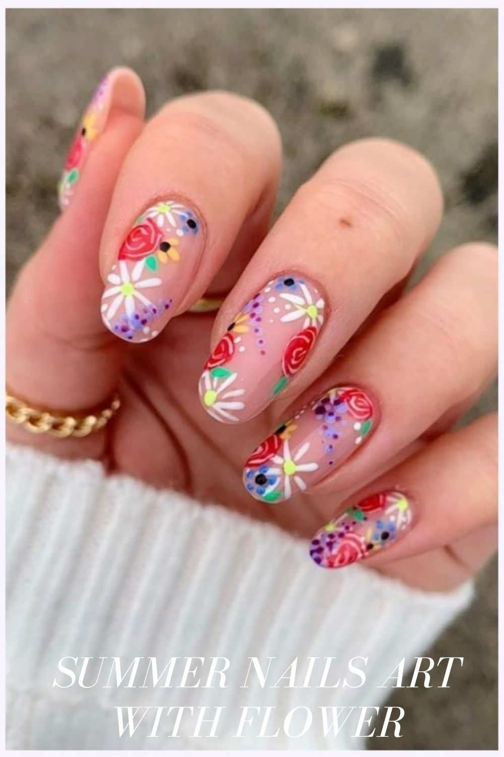 Red rose almond flower nail designs