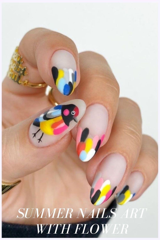 Acrylic nails ideas with bird