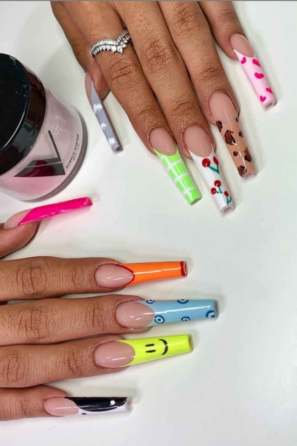 Long acrylic coffin nails designs for summer nails ideas 2021