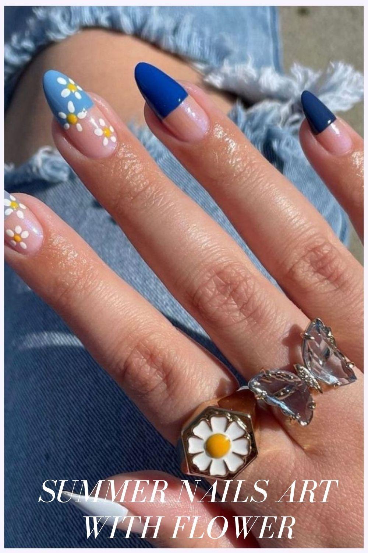 Almond flower nail designs