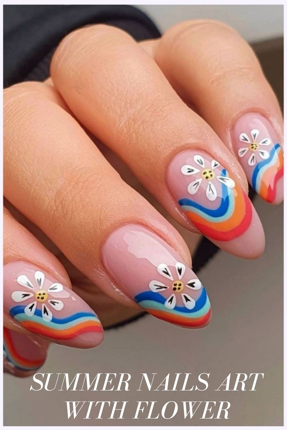 Almond nail design for rainbows and flowers