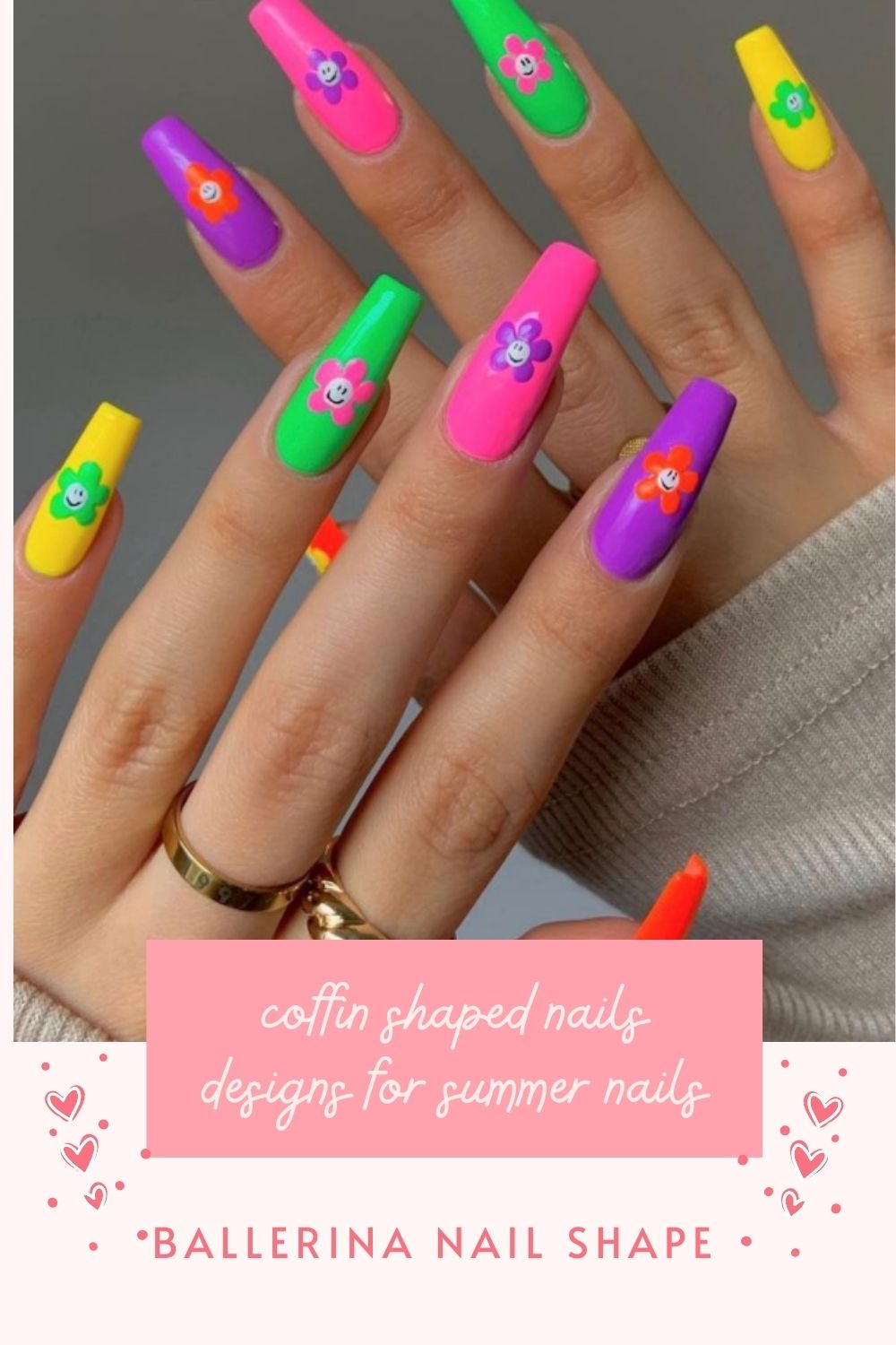 32 Beautiful Coffin Acrylic Nails with Flower for May Nails