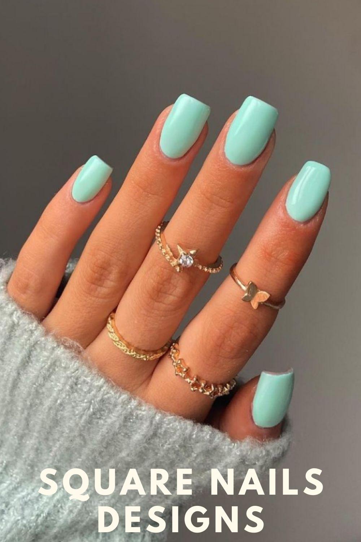 Nude square nails designs