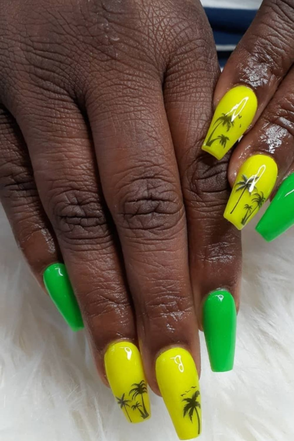 Yellow and green coffin nails designs with palm tree