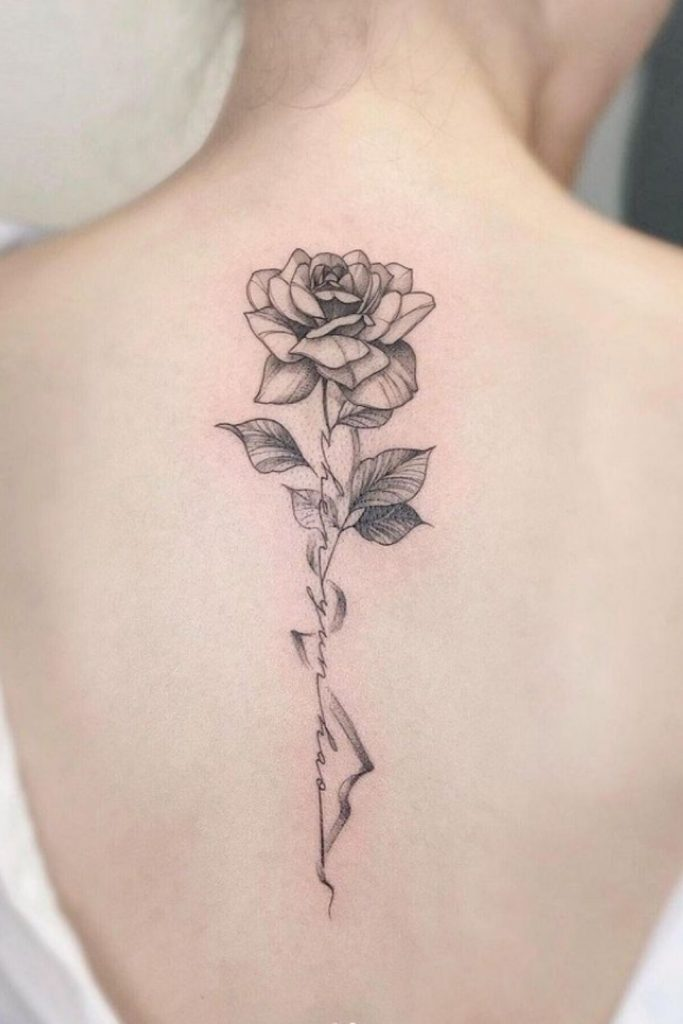 back tattoo art with flowers