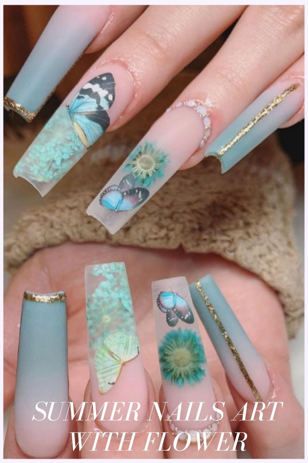Blue and gold coffin shaped nails with butterfiy and flower nail designs