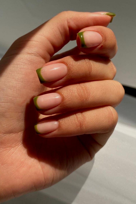 Green tip nails ideas
