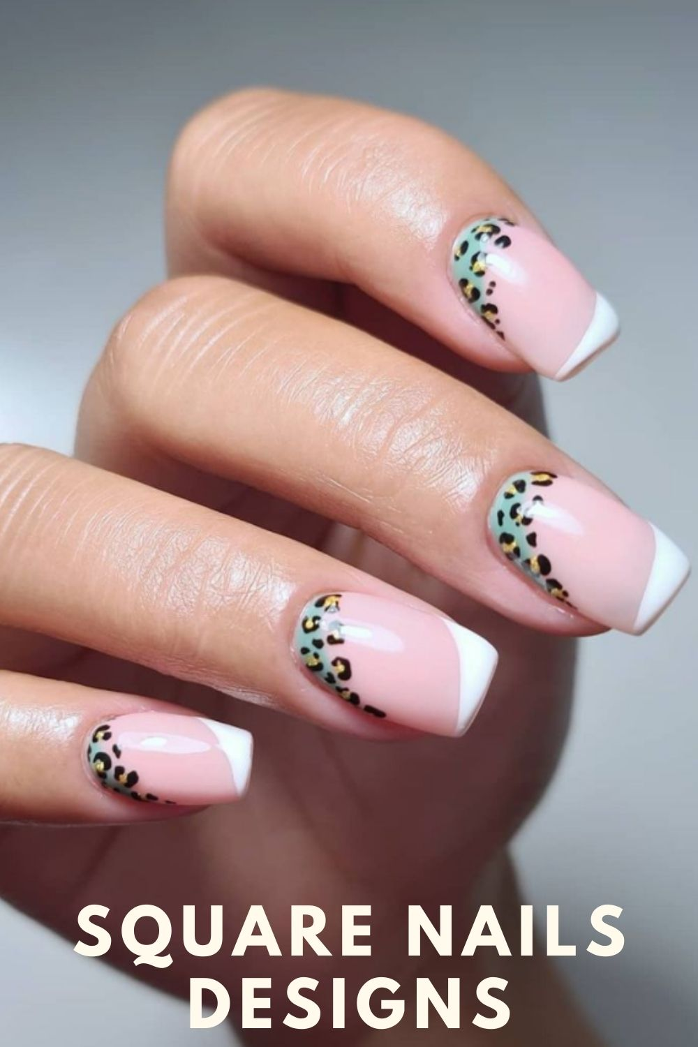 Pink and white ombre nails with leopard