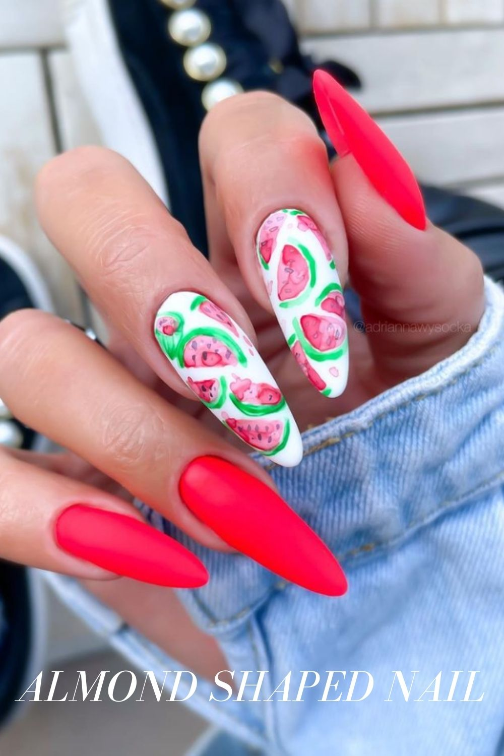 Nail design with watermelon
