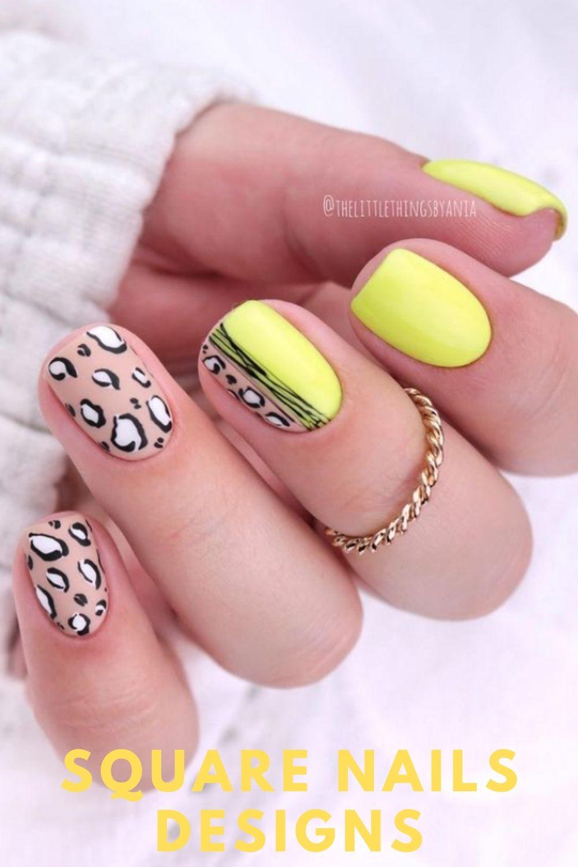 Yellow square nail designs