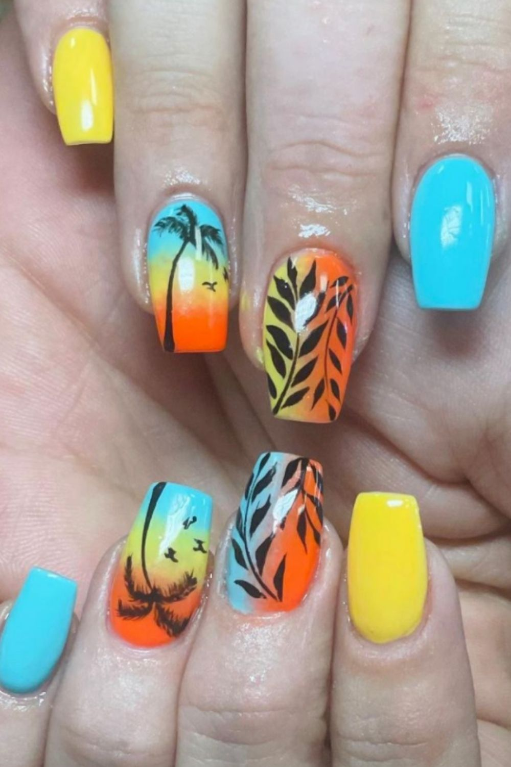 The perfect summer nail should be some green trees and some birds