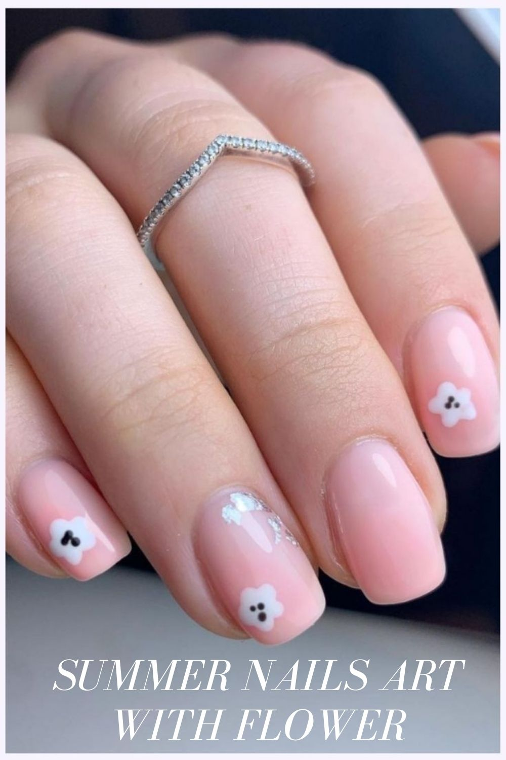 Pink and white short nails art