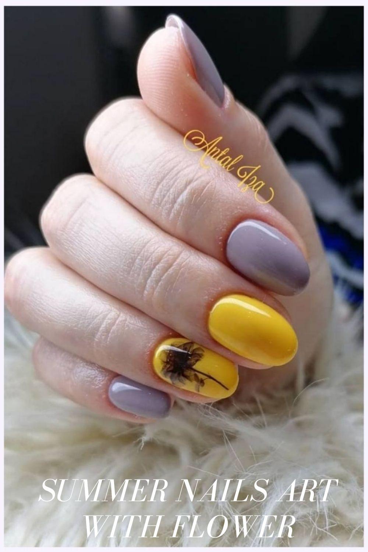Yellow short nails ideas