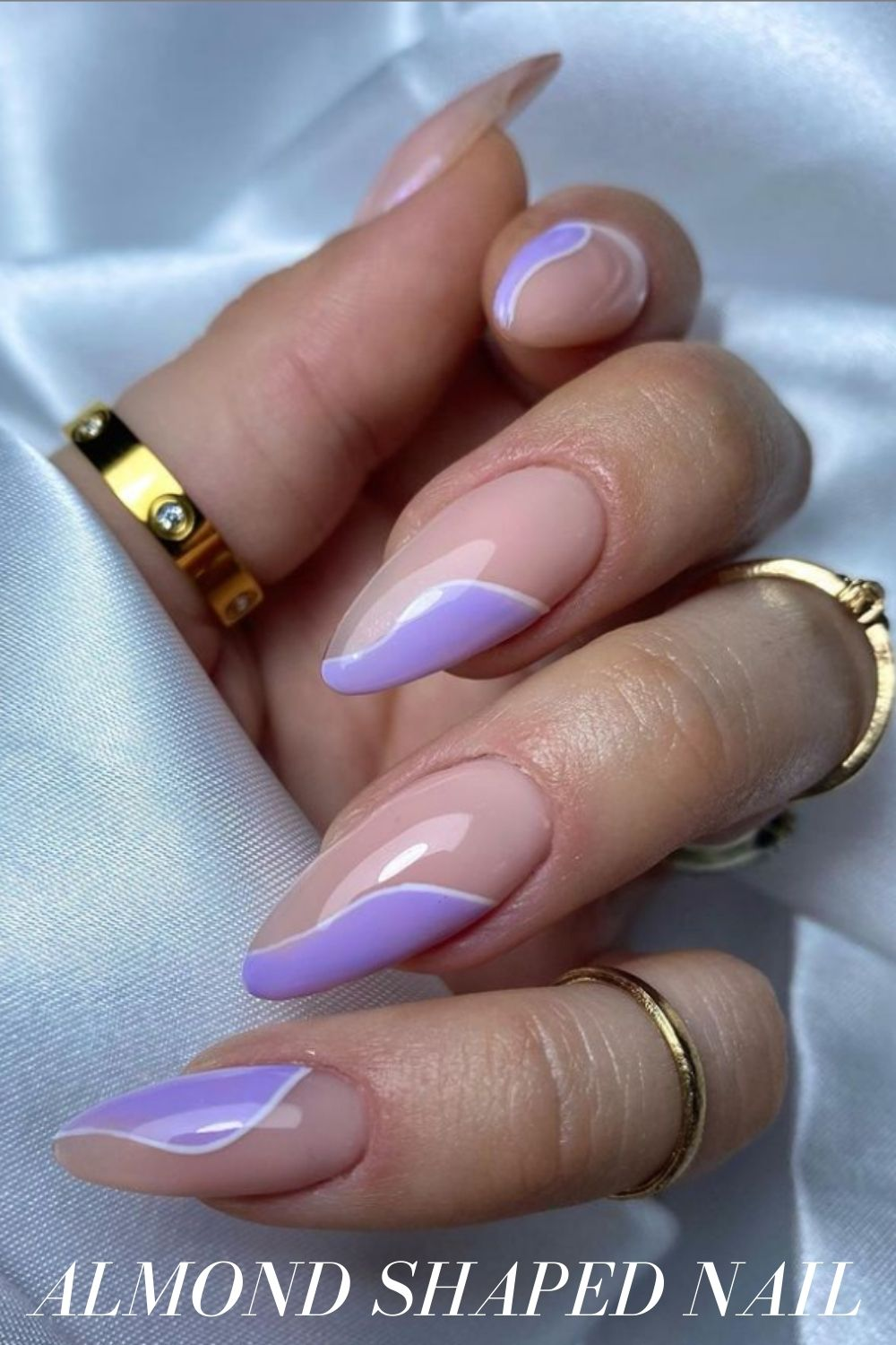 Purple and nude almond nails
