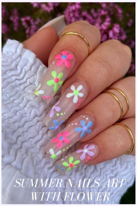 Translucent flower nail designs