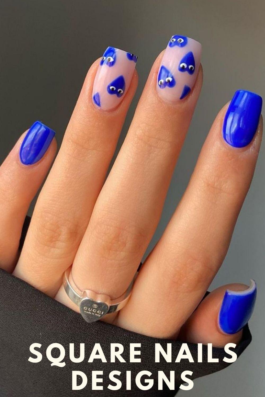 Blue love heart nail ideas