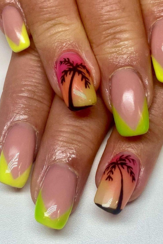 Neon tip nails art