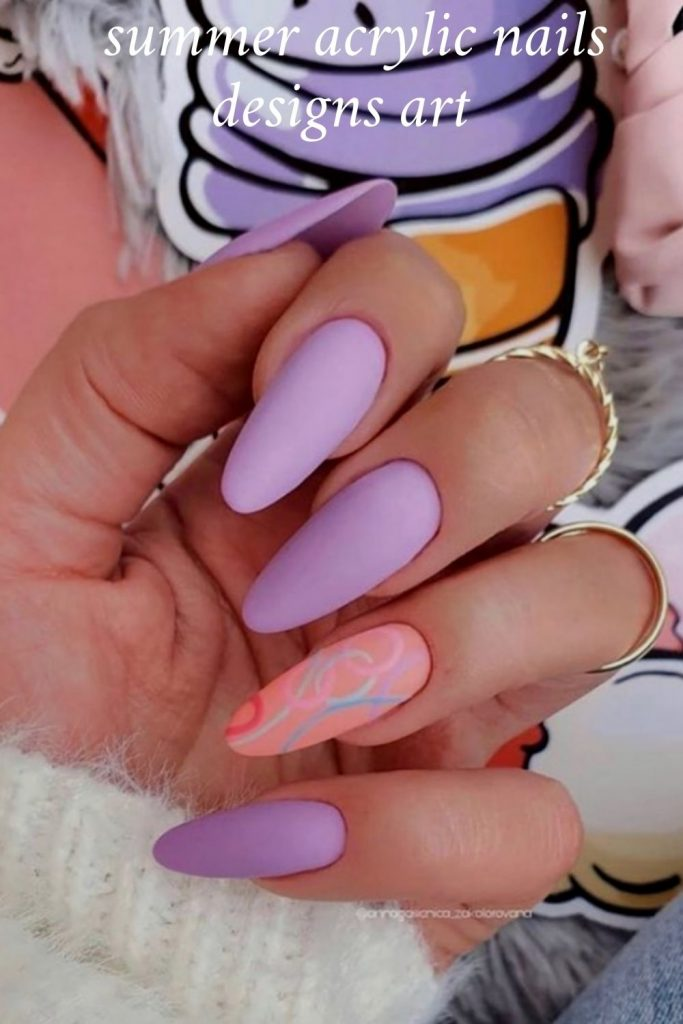 Simple Summer Acrylic Nails designs ideas