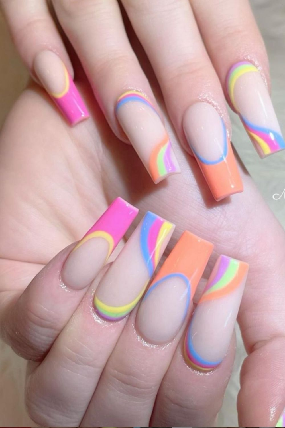 Rinabow nails art for coffin-shaped nail designs