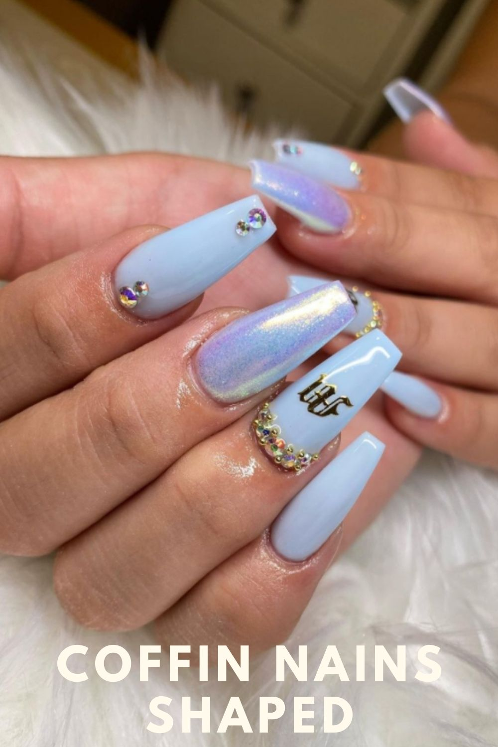Glitter blue coffin nails with diamond
