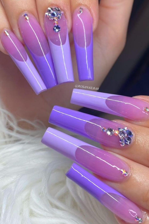 Light blue tip coffin nails designs