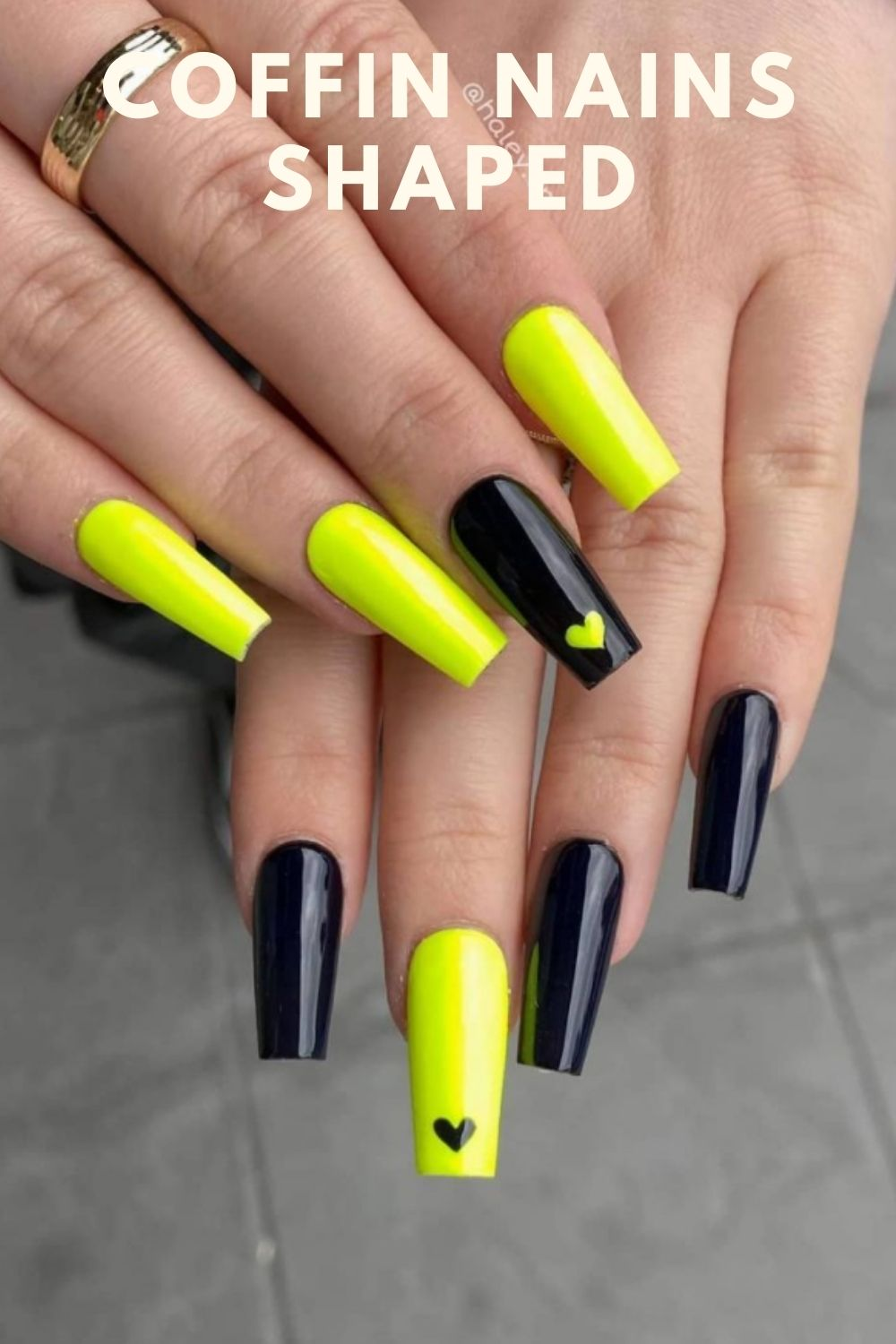 Yellow heart and black heart coffin nails