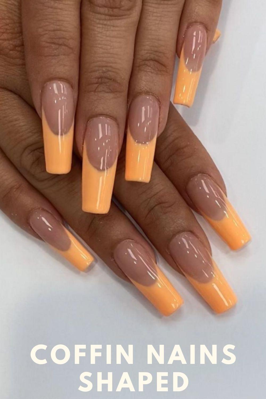 Orange tip coffin nails