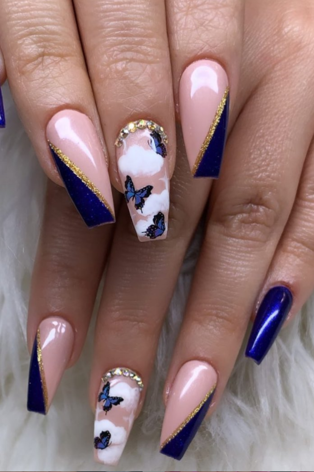 Gold and blue coffin nails
