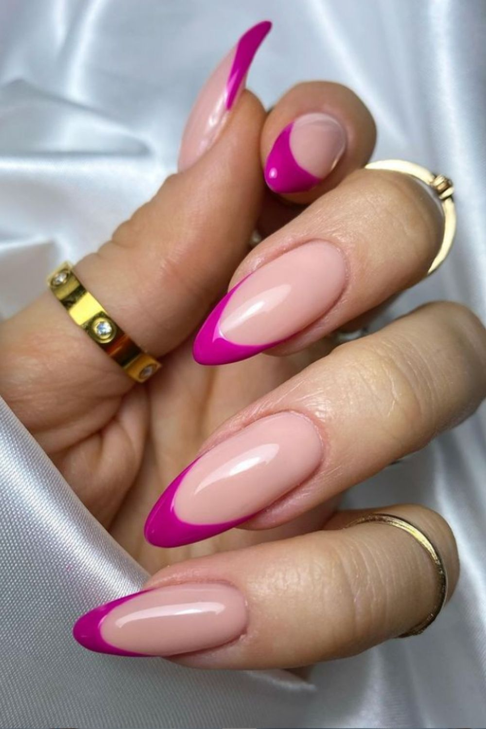 Rose red tip almond-shaped nail