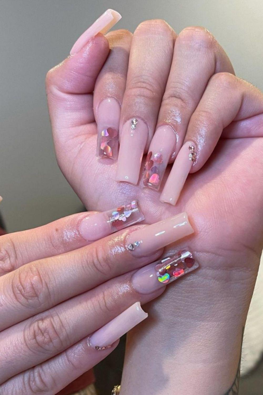 Sequin sticker nails designs