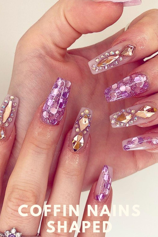 Glitter coffin nails