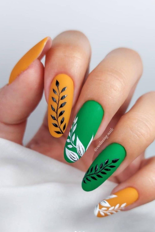 Yellow and green nail designs